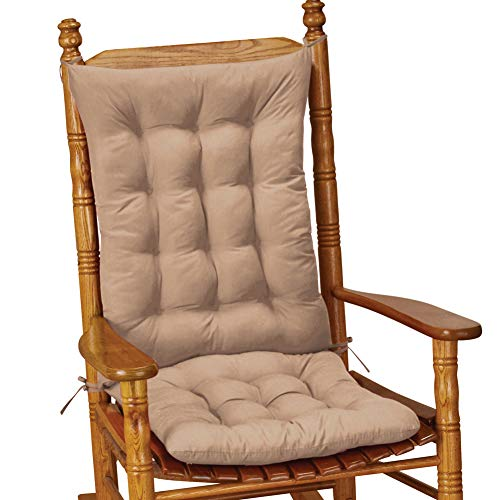 Collections Etc Quilted Chair Cushion Set - Perfect for Rocking Chairs, Dining Chairs or Armchair, Beige