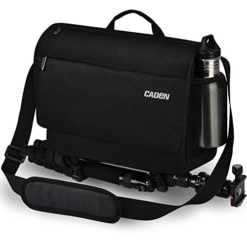 Kameratasche, CADeN Wasserabweisend Diebstahlsicher Fototasche DSLR SLR Spiegelreflexkamera Messenger Umhängetasche Kompatibel mit Canon Nikon Sony Stativ (schwarz)
