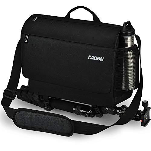 Kameratasche, CADeN Wasserdicht Diebstahlsicher Fototasche DSLR SLR Spiegelreflexkamera Messenger Umhängetasche für Canon Nikon Sony Stativ (schwarz)