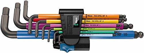 Wera 05022210001 950 SPKL/9 SM HF Multicolour Winkelschlüsselsatz, metrisch, BlackLaser, mit Haltefunktion, 9-teilig, 9 Stück