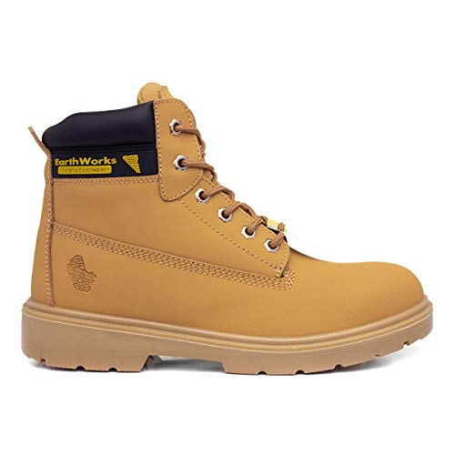 Earth Works Safety - Earth Works Mens Lace Safety Ankle Boot in Honey - Size 9 UK - Gold