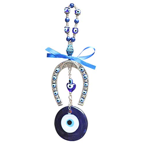 VOSAREA Turkish Blue Evil Eye Wall Hanging Ornament Crystal Ribbon Horseshoe Glass Nazar Beads Amulet Decorative Beads Garland Pendant Wall Art for Home Office Car Protection Alloy