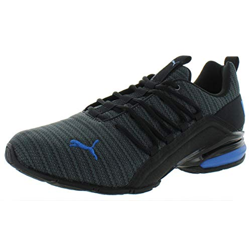 PUMA Men's Axelion Sneaker, Iron gate Black-Strong Blue, 12 M US