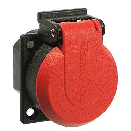 as - Schwabe 45080 230 V Schutzkontakt-Einbaudose, rot/schwarz, mit Klappdeckel IP 54