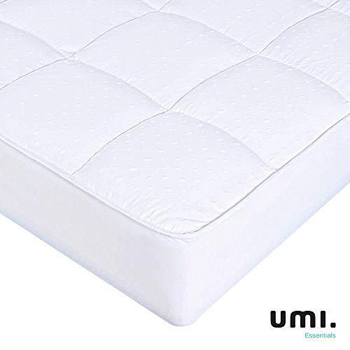 Umi.Essentials Quilted Fitted Mattress Protector Cover, Ultra Soft Breathable Polycotton Filled & Elasticated Skirts, Both-Sides Use - Super King (180x190/200cm)