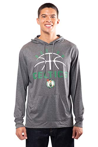 Ultra Game NBA Boston Celtics Mens Super Soft Lightweight Pullover Hoodie, Heather Charcoal , Large