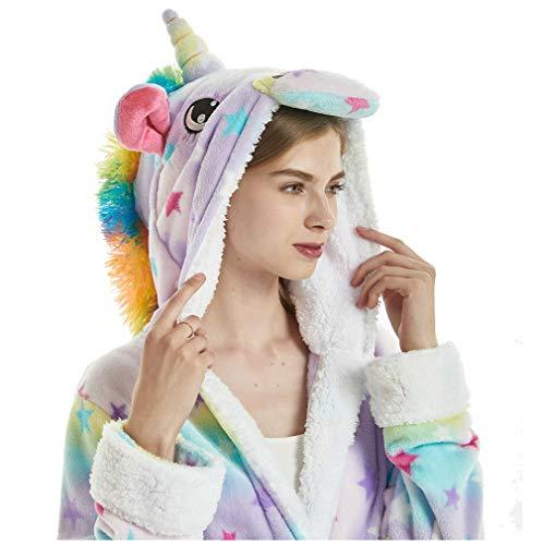 Albornoz Encapuchado, Unicornio Batas de Baño Onesie Adultos Pijamas de Animales Camisón de Dibujos Animados Suave Bata de Dormir Halloween Navidad (Estrellas, L)