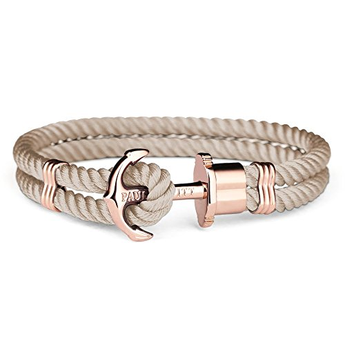PAUL HEWITT Anker Armband PHREP - Segeltau Armband in Hazelnut, Damen Armband mit Anker Schmuck aus IP-Edelstahl (Roségold) in Größe S