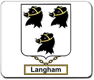 Langham Family Crest Coat of Arms Mouse Pad