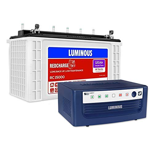 Luminous Eco Watt+ 650 Square Wave Inverter with Red Charge RC 15000 120Ah Recyclable Tubular Battery for Home, Office & Shops (Blue & White)