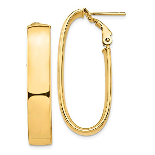 Orecchini a cerchio da donna in oro giallo 14 ct, con retro Omega (35,11 x 15,17 mm) e finitura lucida ovale da 7 mm