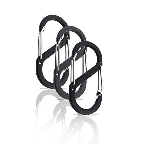 Holesto S Biner Karabiner, 3er Set S Biner mit Doppelöffnung. Großes Angebot an S Biner vom Marktführer mit großer Farbauswahl und Top Qualität in verschiedenen Größen. (52x23 mm, Schwarz)