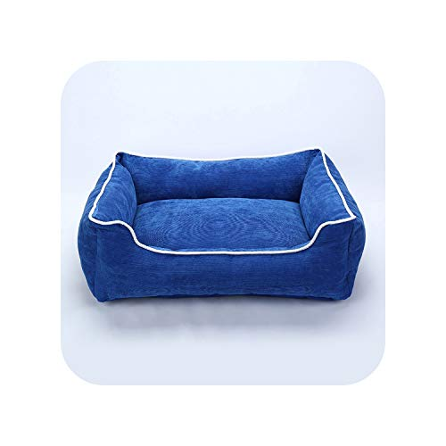 Pet Bed for Small Medium Large Dog Crate Pad Deluxe Soft Bedding Moisture Proof Bottom for All Seasons Puppy Dog House Pet Bed,Blue,S 45X35X17CM
