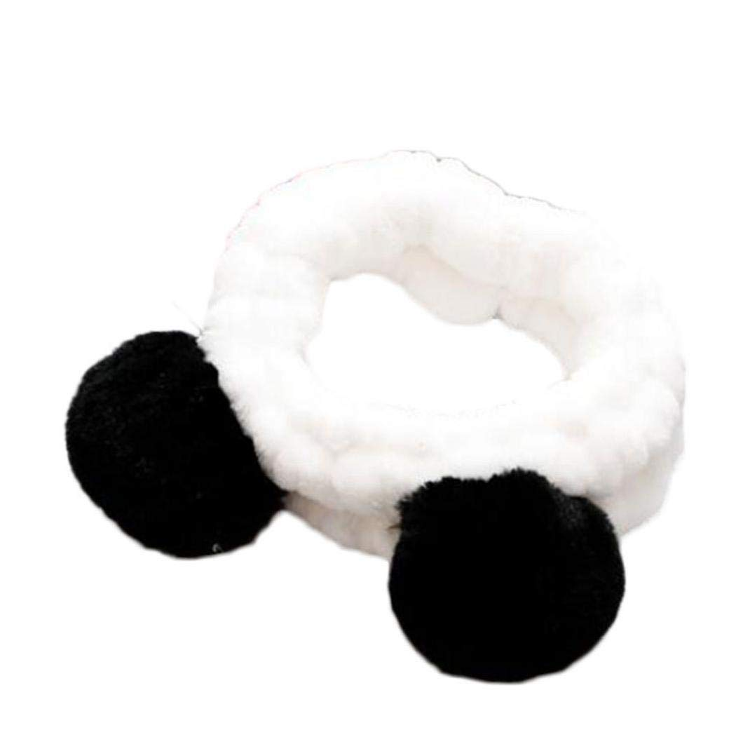 Elastic Cute Panda Ear Soft Headband for Women Makeup Shower Washing Face Spa Mask Head Wraps