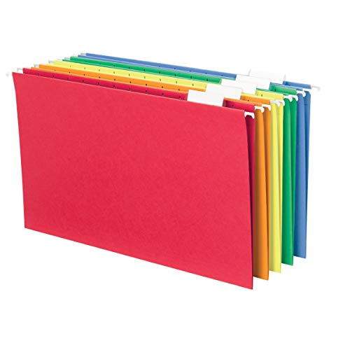 Smead Hanging File Folder with Tab, 1/5-Cut Adjustable Tab, Legal Size, Assorted Primary Colors, 25 per Box (64159)