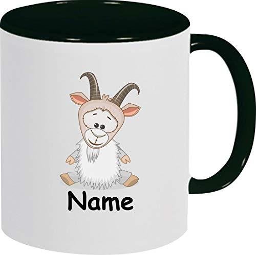 Shirtinstyle Kindertasse, Teetasse, Tasse, Ziege mit Wunschnamen, Wunschtext, Spruch, Kinder, Tiere, Natur, Kaffeetasse, Pott, Becher, Farbe schwarz
