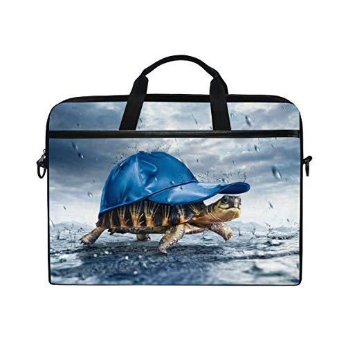 MRMIAN Hipster Turtle with Sport Hat 15 inch Laptop Case Shoulder Bag Crossbody Briefcase Messenger Sleeve for Women Men Girls Boys with Shoulder Strap Handle, Back to School Gifts for Her Him