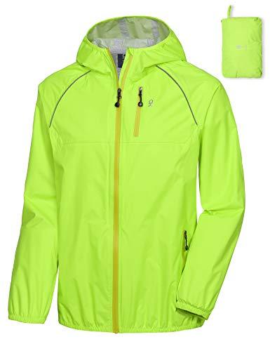 Lightweight Waterproof Windbreaker Bike Jacket Hooded Mens Cycling Running Jacket with Detachable Windproof Sleeves