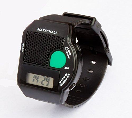 MV sprechende Armbanduhr mit großem Sprachknopf schwarz- Blindenuhr -Neu!!! jetzt mit Deutscher Gehäusebeschriftung - fertig eingestellt geliefert
