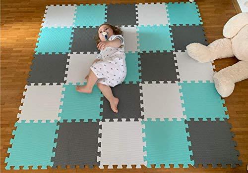 Puzzelmatten für Babys und Kinder - Spielmatte Puzzlematte Baby - 25 Eva TLG (30x30x1 cm) Schaumstoff-Bodenfliesen - Krabbelmatten Spielteppich Schutzmatten - Fitnessraum Yogamatten Trainingsmatten