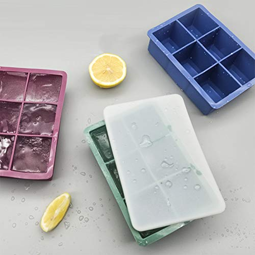 Ijsblokjesvormpjes En -Bakjes, Siliconen Ijsblokjesbakjes 6-Vaks Ijsbakje Met Siliconen Hoesje Best for Freezer Babyvoeding Water Whisky Cocktail En Ander Drankje,Green