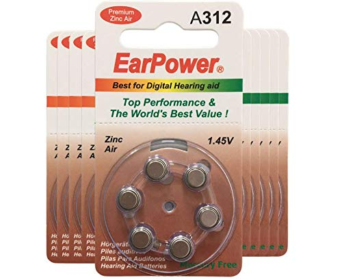 60 Piles Auditives EarPower 312 (Lot de 10 Plaquettes de 6 Piles) / Piles pour Appareils Auditifs/Aides Auditives. 0% Mercure / PR41 - Zinc Air - 1.45V / Taille 312, A312, P312