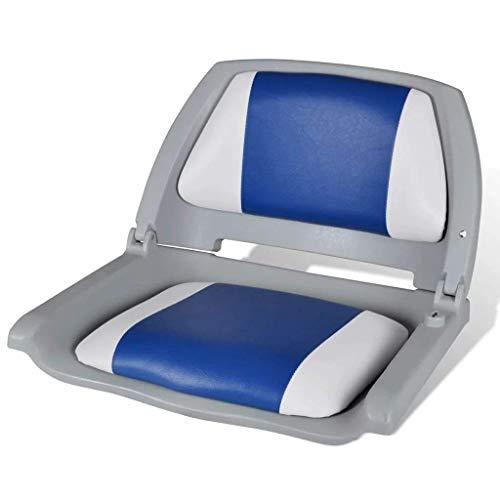vidaXL Silla de Barco Respaldo Plegable Azul y Blanco Asiento de Embarcación