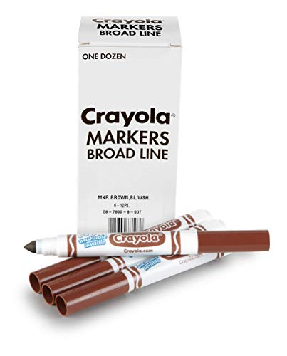 Crayola Brown Washable Markers, Broad Line Markers, 12 Count