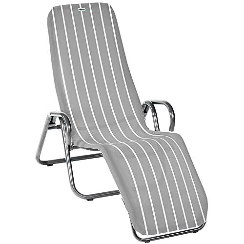 acamp Gartenliege klappbar | Wetterfest beschichteter Liegestuhl Garten | Liegestuhl klappbar mit Bezug aus atmungsaktivem Acatex-Gewebe | Kippliege mit hohem Liegekomfort in Platin Denver
