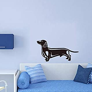 Dalxsh Lovely Sausage Dog Vinyl Wall Sticker Bedroom Wall Paper Kids Room Wall Decals Cute Puppy Home Decor Pet Shop Decals 31x59cm