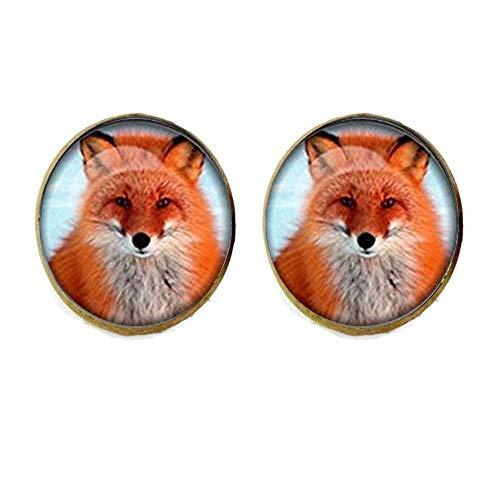 Gemelos de cabujón de cristal con diseño de zorro