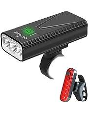 EBUYFIRE Oplaadbare led-fietslamp, USB, 3000 lumen, 5200 mAh, krachtig, fietslamp voor en achter, 3 modi, IPX5, waterdicht, voor veiligheid bij mountainbiken en racefietsen