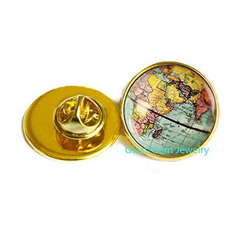 Broche de mapa del mundo, broche de tierra, broche de globo, joyería de mapa, regalo de aventurero, mapa antiguo, Q0084