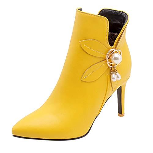 Oksea Damen Reißverschluss Spitzen Pumps Pearl Damen Schnürstiefeletten Übergrößen Damen Knöchel Stiefeletten Spitze Reißverschluss Stiletto High Heels Stiefel Faux Suede