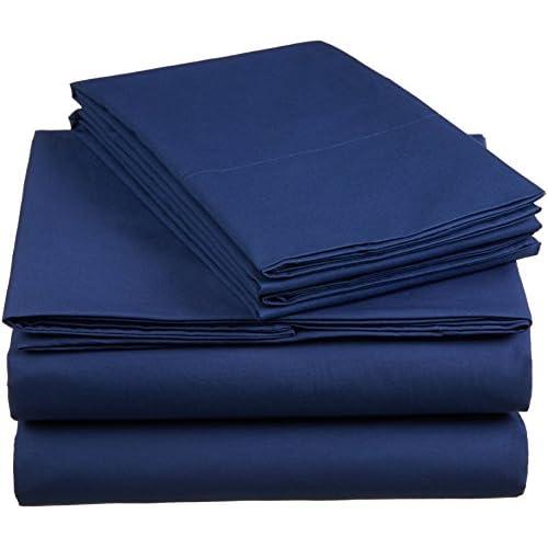 AmazonBasics 'Everyday' Bettwäscheset aus 100% Baumwolle, Marineblau 260x220 cm & 2 Kissenbezüge 50x80 cm