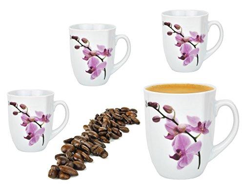 Van Well 4er Set Kaffeebecher 330ml weiß - Verschiedene Dekore wählbar, Dekor:Kyoto Orchidee