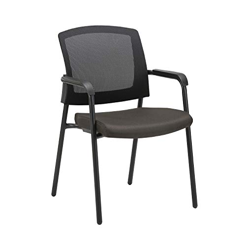 CLATINA Office Reception Guest Chair Mesh Back Stacking with Ergonomic Lumbar Support and Thickened Seat Cushion for Waiting Conference Room Black