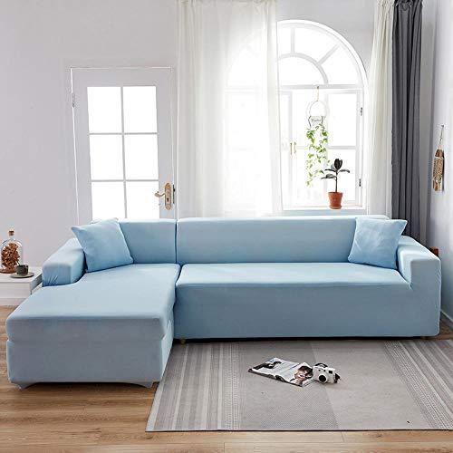 Asiento Forro de Sofá Doméstico Azul Claro 2 1 plazas, Fundas de sofá Todo Incluido de Color sólido Fundas de sofá, Toalla de sofá elástica Fundas de sofá de Esquina Chaise General 90-140cm (1pcs)