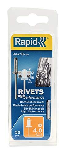 Rapid Blindniete Universal Aluminium, 50 Stück inklusive Bohrer, 4 x 18 mm, 5000386