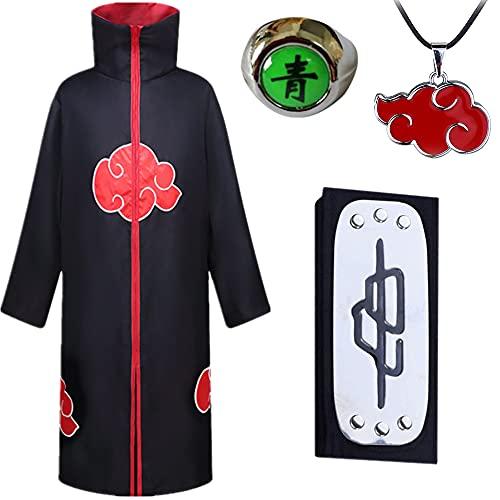 AIYIMEIDE Naruto Akatsuki Mantel für Halloween Weihnachten Party Kinder Erwachsener Unisex Cosplay Kostüm mit Akatsuki Rote Wolke Umhang Deidara Stirnband Halskette Ringe Zubehör Kostüm Set