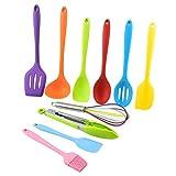 Juego de 10 utensilios de cocina de silicona antiadherente, juego de espátulas de cocina con soporte, de colores, las mejores herramientas de cocina de color (negro)
