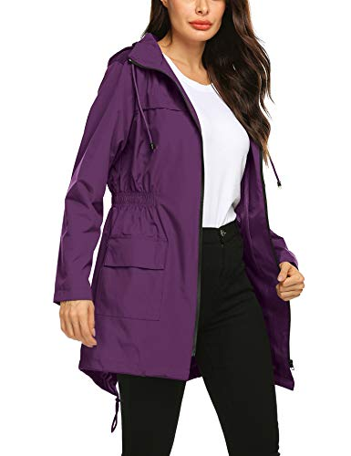 SoTeer Women's Lightweight Windbreaker Patchwork Zipper Sport Jacket Coat Outerwear Women's Stripe Hooded Panel Windbreaker