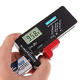 Chiic - Comprobador de batería digital universal, pantalla LCD, mini celda recargable, batería múltiple, comprobador de voltaje para el hogar AA C D AAA 1,5 V 9 V