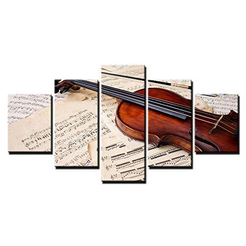 Cuadros Modernos Impresión de Imagen Artística Digitalizada Lienzo Decorativo para Tu Salón o Dormitorio Estilo Paisaje con 5 Piezas Partitura de violín 200cmX100cm