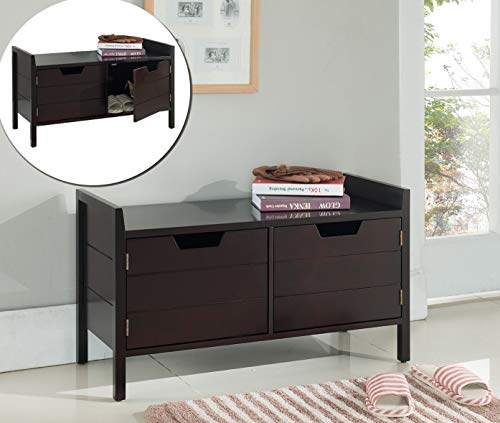 Kings Brand Furniture Wood Storage Bench with Doors, Espresso