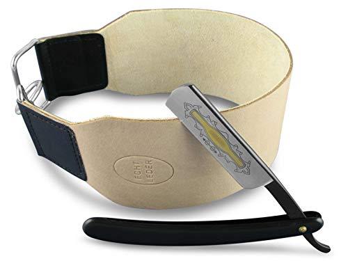 2-Teiliges Einsteiger Set Rasiermesser Schwarz mit fester Rasierklinge mit breitem Profi Abziehleder zum schärfen