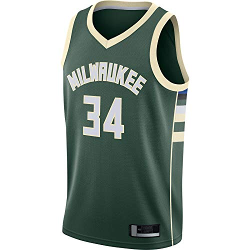 LANHUA Swingman Jersey Giannis Basketball Jersey Antetokounmpo Custom Milwaukee Sudadera Bucks Top Sin Mangas Verde -#34 Milwaukee Sudadera Icono Edition-M