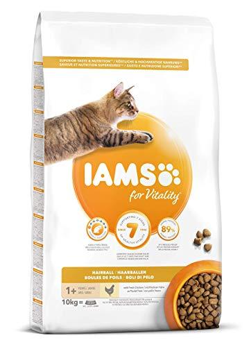 IAMS for Vitality Bolas de Pelo Alimento para Gatos con pollo fresco, 10 kg