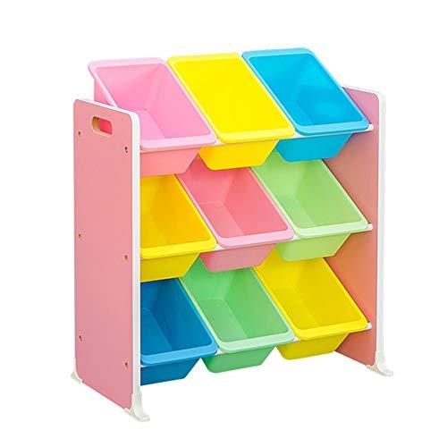 QINQIGBJ Kids Toy Storage Organizer Bins, multifunctional storage rack Display Holder with 9 Multiple Color Plastic Bins Shelf Drawer 3-Tier Space-saving design (Color : Pink)