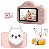 Ruiccsy Kids Camera for Girls & Boys, 20.0 MP HD Digital Camera Rechargeable Video Recorder Mini Cartoon Toy Camera with Dual Lens & 2 Inch IPS Screen 32GB SD Card for Toddler Aged 3-10 Years Old